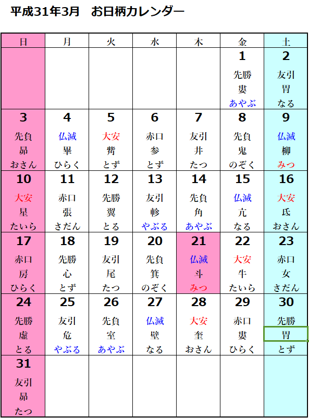 お日柄カレンダー 平成31年3月